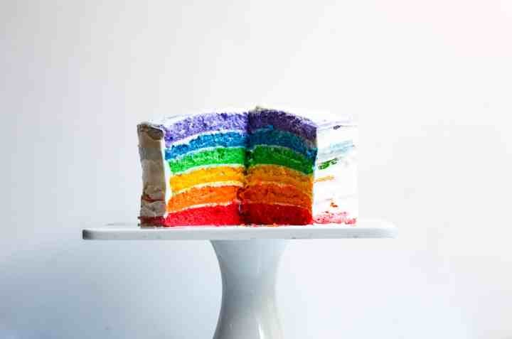 side view of rainbow cake cut into