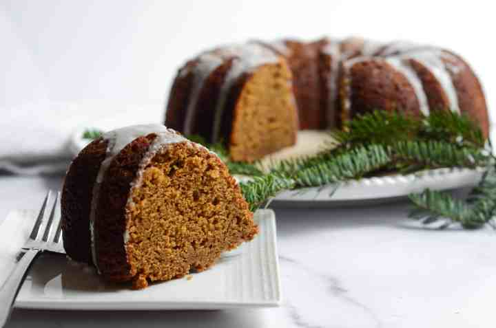 a slice of gingerbread bundt cake is easy to throw together and impressive for a crowd.