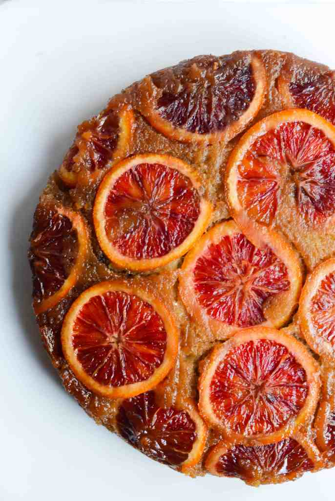 aerial view of cooked blood orange upside down cake