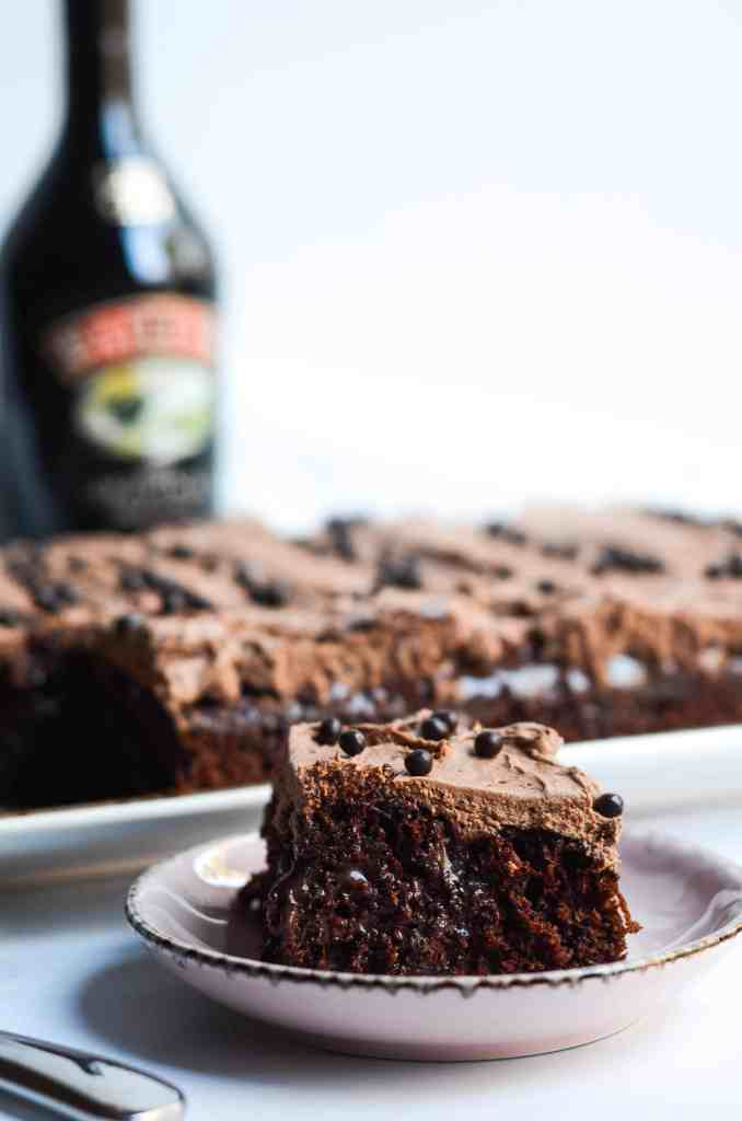 baileys chocolate poke cake is fast, delicious, and easy to make when you need something decadent and delicious but don't have the time.