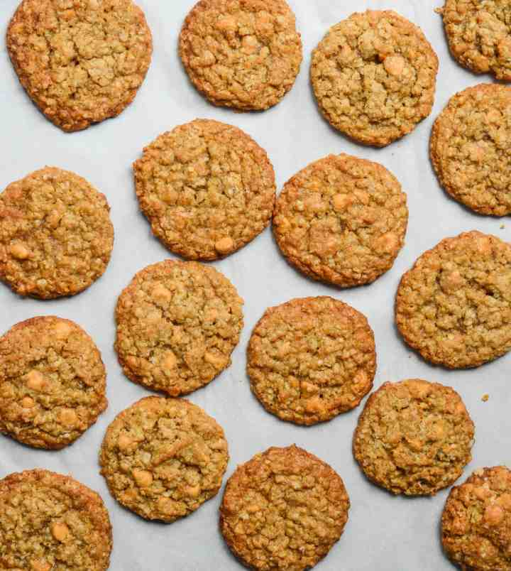 oatmeal butterscotch cookies on parchment paper
