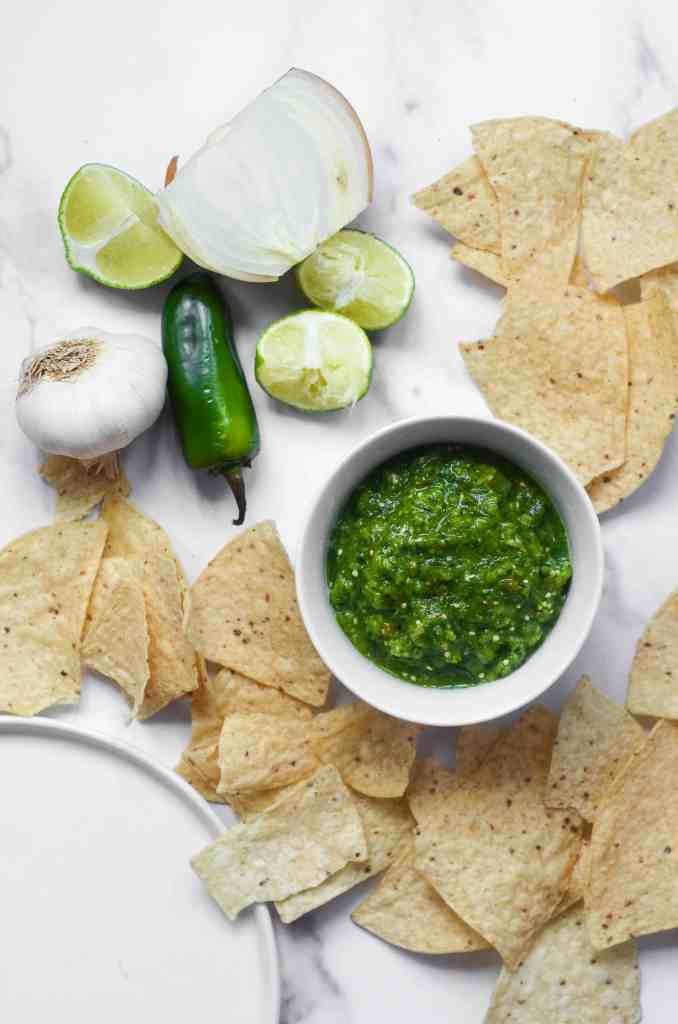 roasted tomatillo salsa surrounded by chips