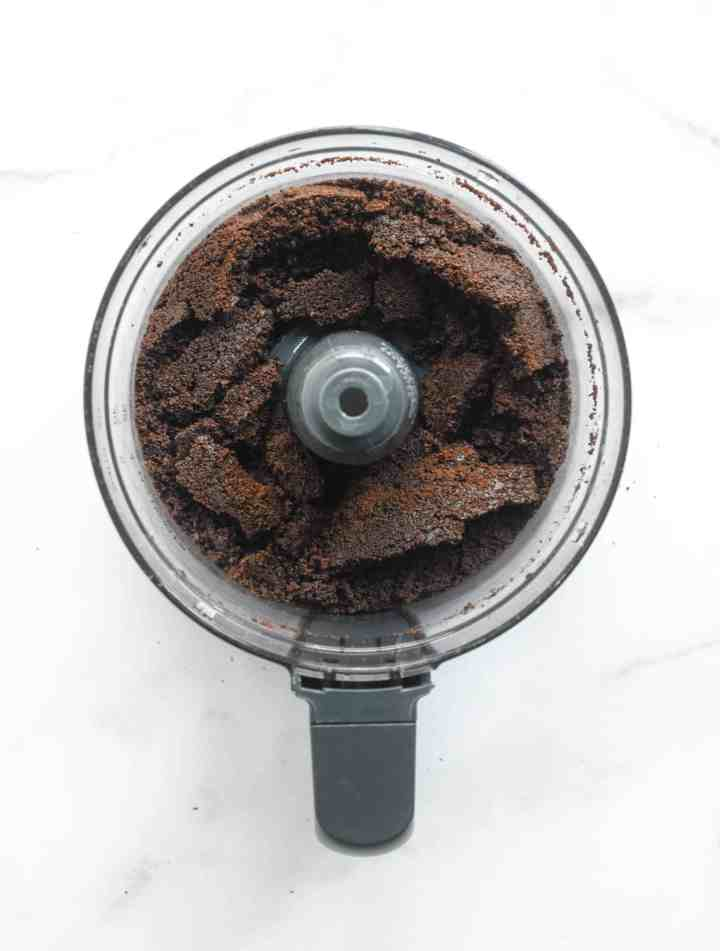 aerial shot of pulverized thin mint crumbs