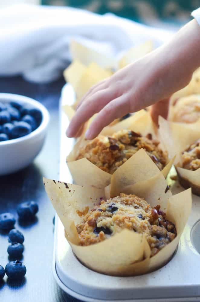 small child's hand about to grab a blueberry muffin with cup of blueberries in the background