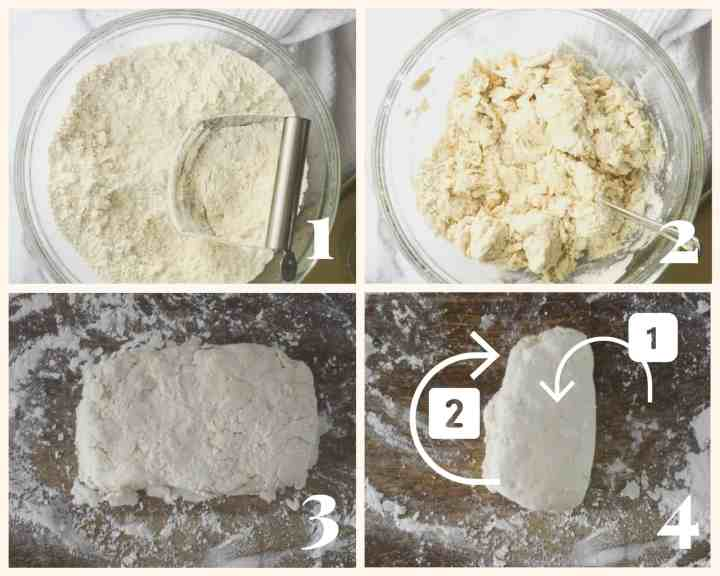 4 picture collage of flour mixture with butter cut into it, then buttermilk added, then dough rolled onto floured surface in rectangle, then picture of dough folded.