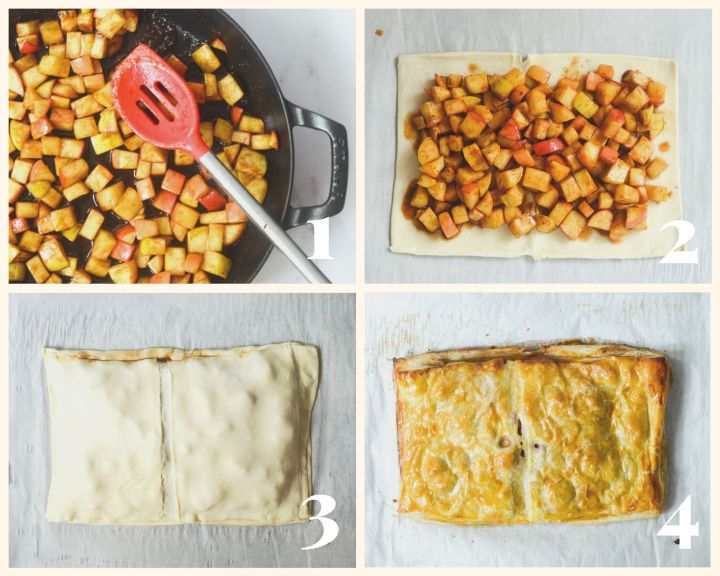 4 part collages of apples cooking in pan, apples on top of sheet of puff pastry, other sheet enclosing apple pie, and fully baked apple pie