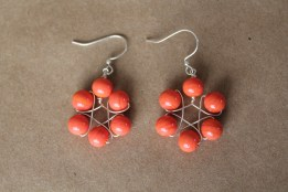 Fun and bright - https://www.etsy.com/listing/167788939/orange-glass-flower-shaped-wire-earrings?ref=listing-shop-header-2