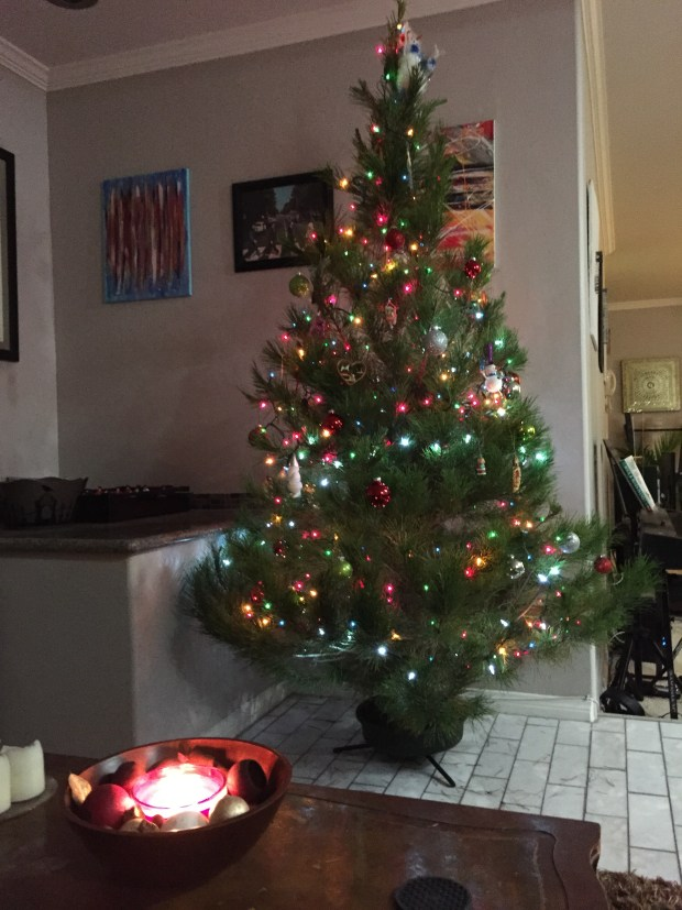 our christmas tree decorated