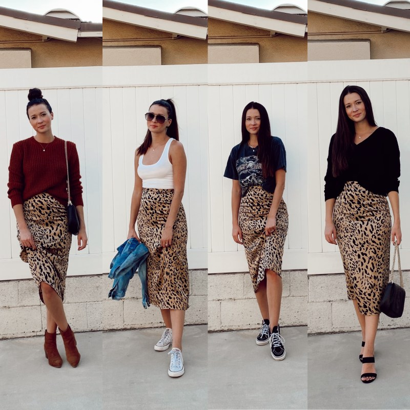 My Favorite Leopard Skirt Styled 4 Different Ways