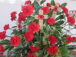 Remembrance Day bouquet, St Andrew's United Reformed Church, Brockley, London UK