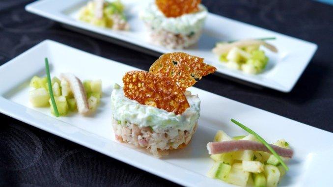 Tartaar van gerookte paling met tzatziki