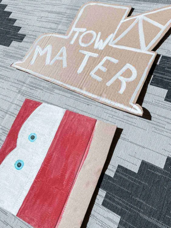 Tow Mater and Cars ride vehicle cardboard signs for Disneyland at home