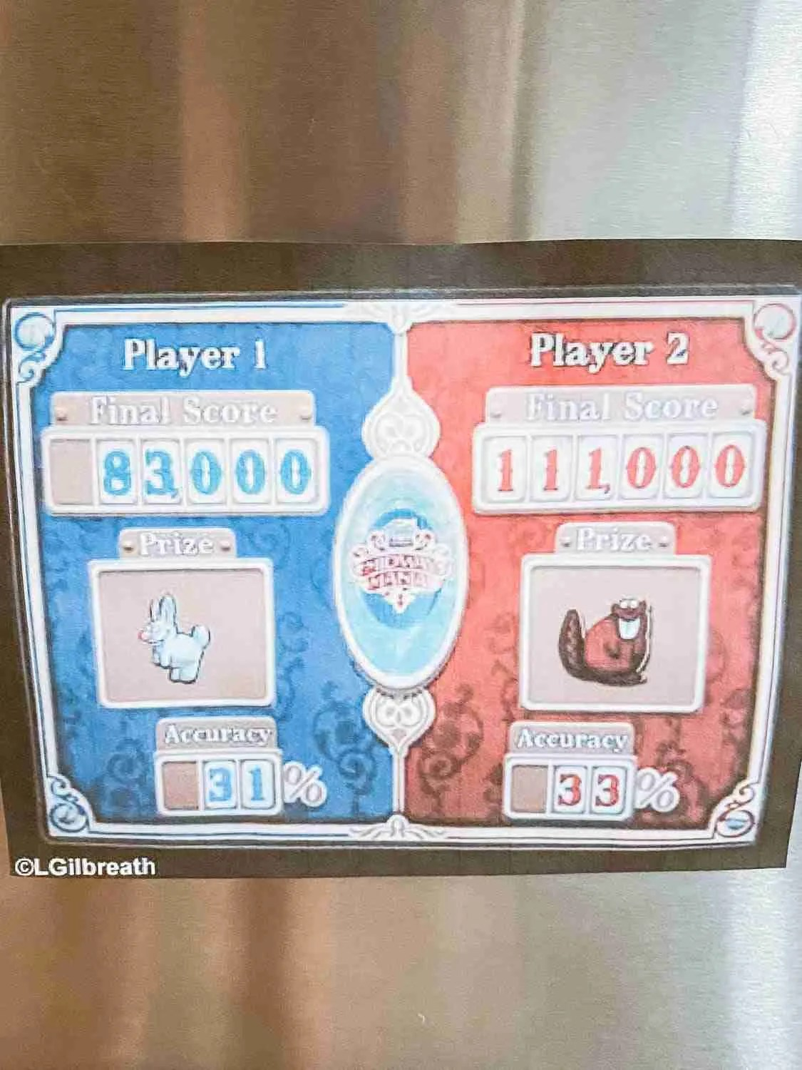 Points printout on fridge door for Midway Mania score for Disneyland at home