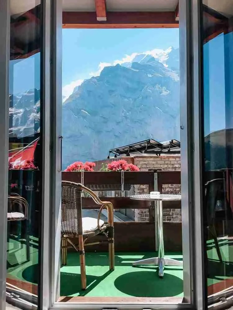 Mountain top view out balcony in Murren