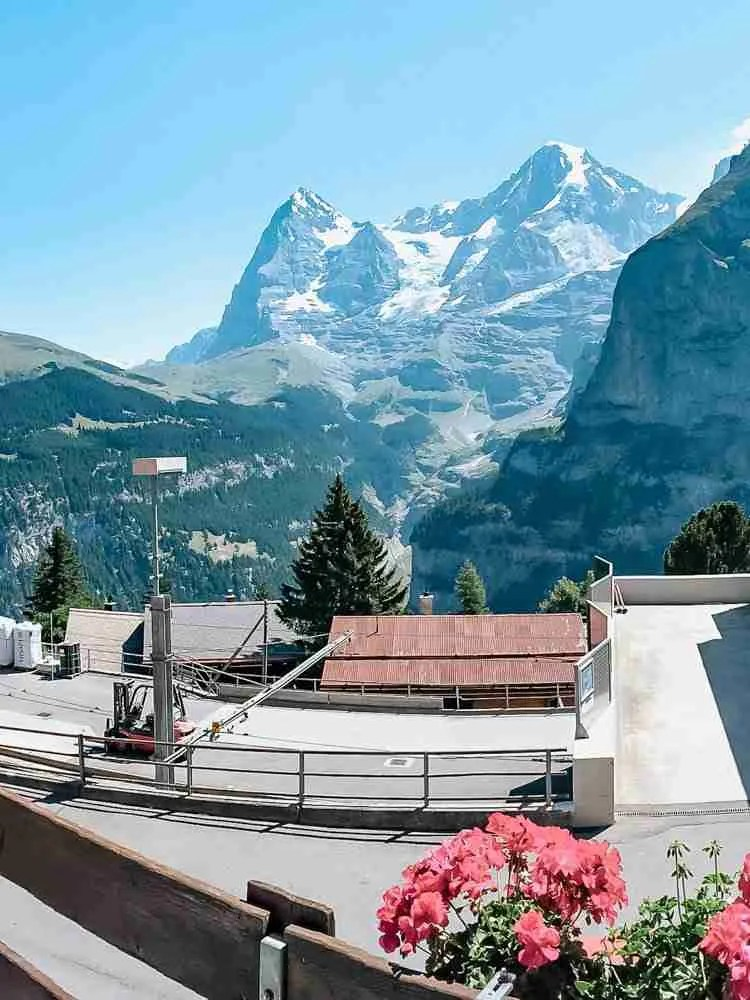 View over the Lauterbrunnen Valley from a mountain village