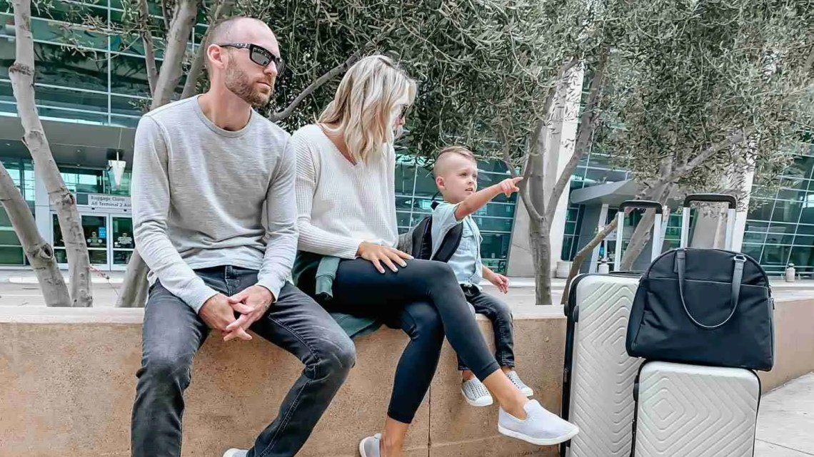 Family Travel with Kids outside the airport
