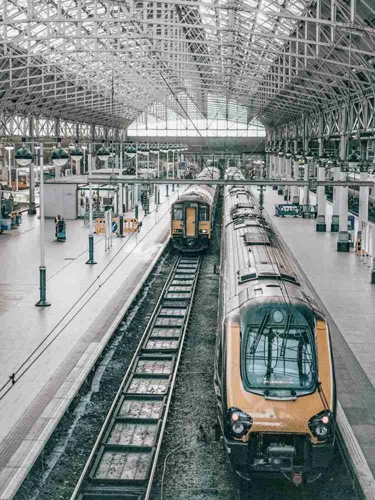 Train inside train station