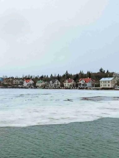Frozen lake in Reykjavik, Iceland