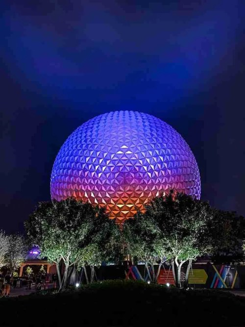 Epcot Spaceship Earth at night in Walt Disney World
