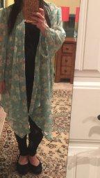 Olrain Women's Floral Print Sheer Chiffon Loose Kimono Cardigan Capes_8