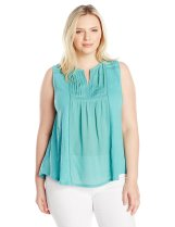 Lucky Brand Women's Plus Size Embroidered Pintuck Tank Top