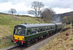 The diesel services were in the hands of the Class 101 DMU here seen heading for Oakworth
