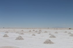 Piles of salt draining off water