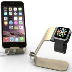 Apple Watch Stand & iPhone 6 Dock: Stalion® 2in1 Desktop Charging Station (Powder Gold) Alu ...