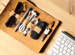 Leather Cable Organizer Roll by FistCase