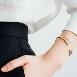Flower Gold Bracelet Open