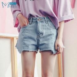 蜜妃儿 夏季新款女装韩版高腰牛仔短裤