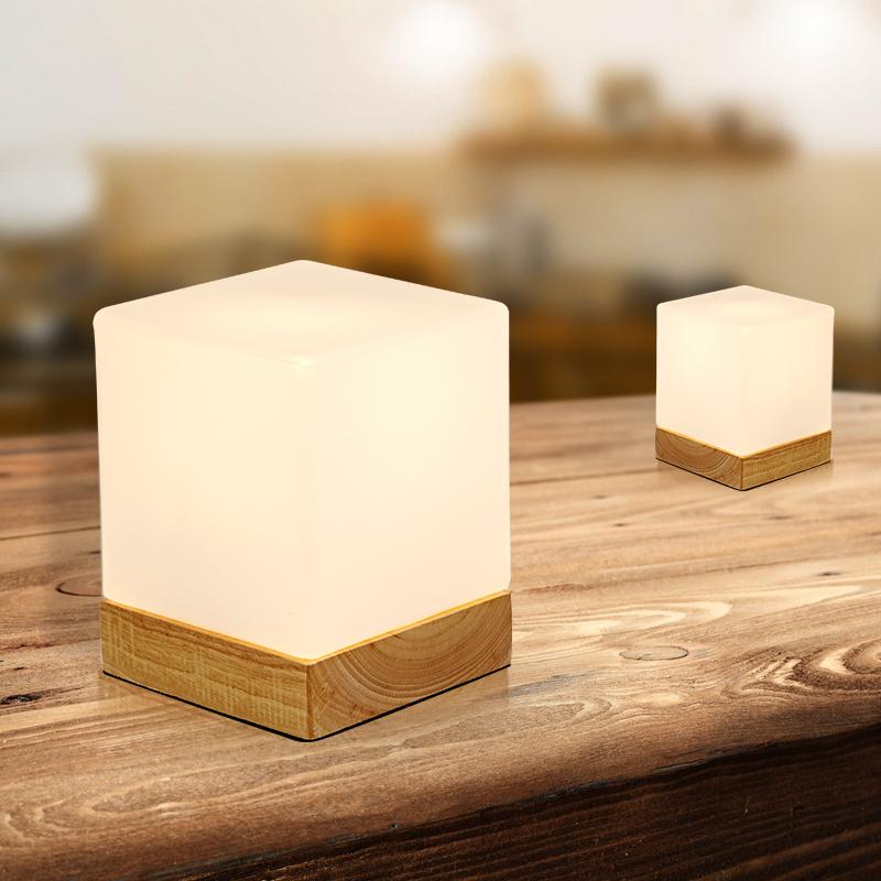 北欧迷你实木方形创意台灯,温馨卧室床头灯