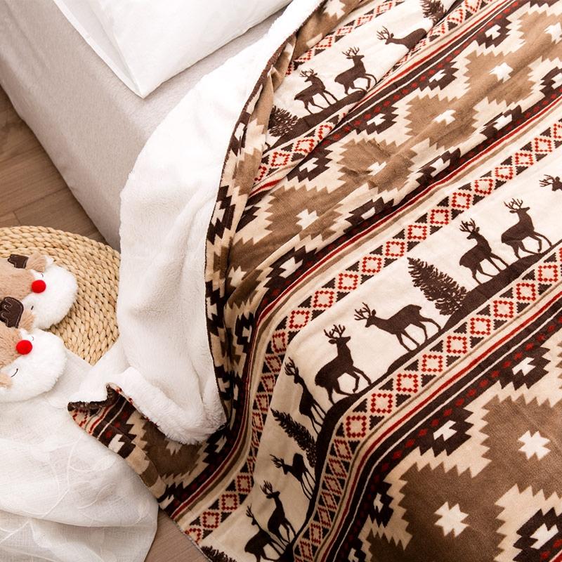 圣诞麋鹿法兰绒毛毯