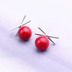 红色圆球蝴蝶结纯银耳钉