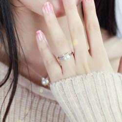 纯银猫咪珍珠戒指