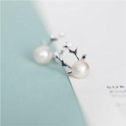 纯银麋鹿角珍珠耳钉