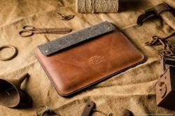 Crazy Horse Orange Leather MacBook and iPad case
