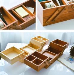 松木双层桌面收纳盒