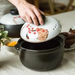 日式萌猫手绘陶瓷汤锅