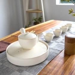 摩登主妇 微暖釉色日式白陶茶具套装