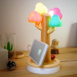 vacii可爱硅胶云朵树造型充电座小夜灯