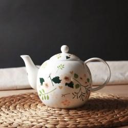 小花季 骨瓷碎花咖啡壶茶壶