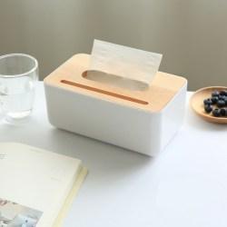 日式创意橡胶木盖纸巾盒,带手机架的抽纸盒