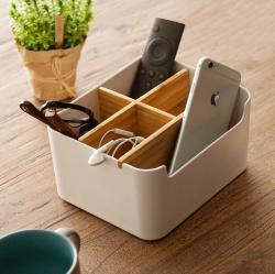 橙舍家居 竹木创意家用桌面小物件收纳盒