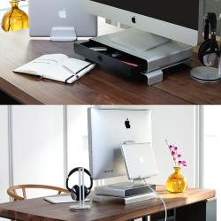 Just Mobile AluCable/杰思摩波 桌面抽屉式iMac支架,航空铝材浑然一体