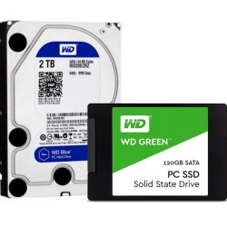 西部数据Western Digital 存储解决方案 ,蓝盘2TB HDD + Green系列120G SSD固态硬盘