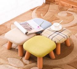 优涵家具 实木小方矮凳子,亚麻面料换鞋凳