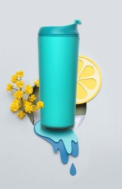 Artiart创意不倒杯,防漏便携咖啡杯330ml,垂直轻松拿