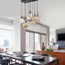 8-Light Cognac Glass Cluster Chandelier