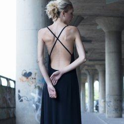 Black Plunging Neckline Dress By Fancy
